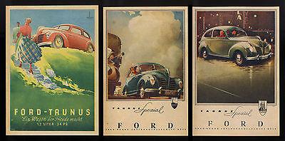 3 Stück alte Reklame Werbung von 1949 Ford-Taunus Spezial