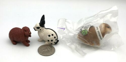 Schleich Lot of 3 RABBITS BUNNY Black & White Brown Lop Retired Animal figures