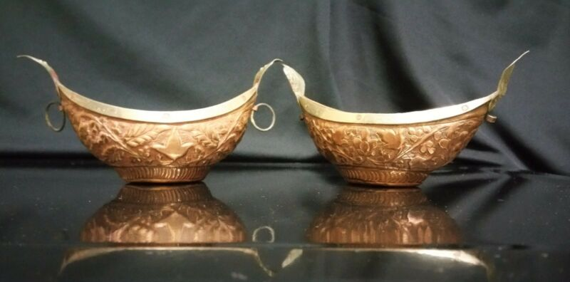 Vintage a pair of Kashmir Islamic Copper Metalwork Candle Holder