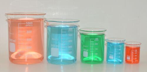 5 Beaker set 50 100 250 600 1000mL Griffin Borosilicate Glass Beakers Lab New
