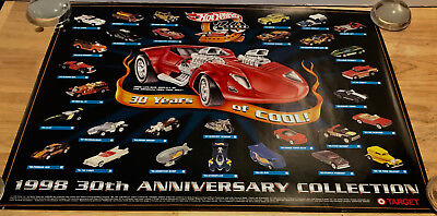 HOT WHEELS Target Poster 30th Anniversary Collection 1968-1998 18x24 INCH