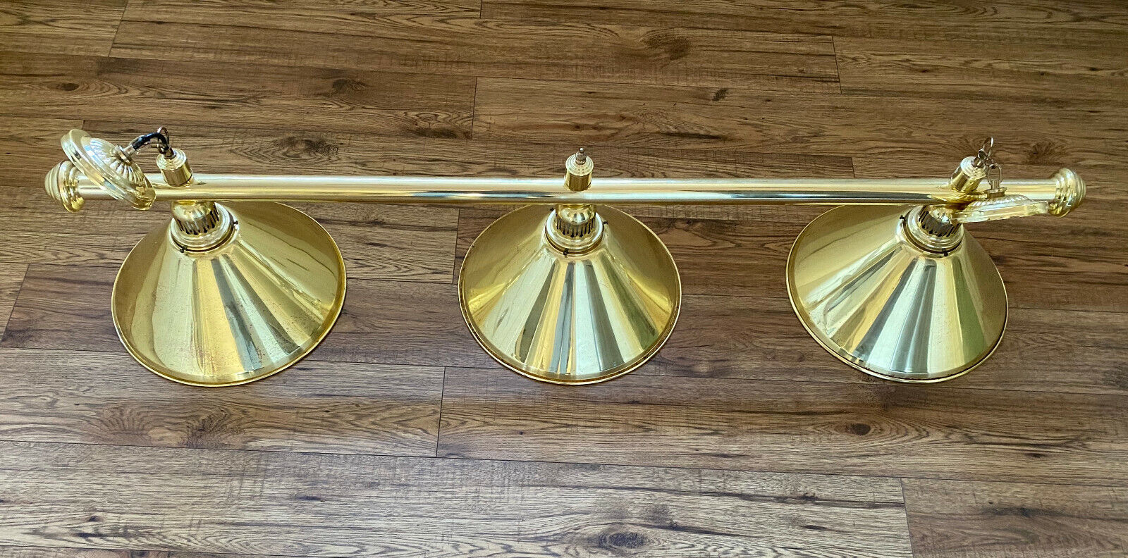 BRASS POOL SNOOKER TABLE CIELING LIGHT and 3 BRASS SHADES