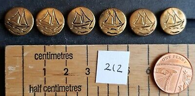 6 vintage metal blouse yacht/boat buttons