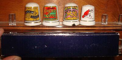 Vintage Porcelain Advertising Cough Drops Coffee String Beans Cardinal Thimbles