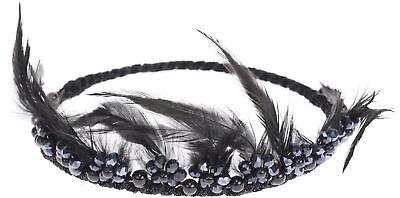 Vintage YAHAIRA Perlen FLOWER Feder GLITTER Haarkranz Rockabilly ()