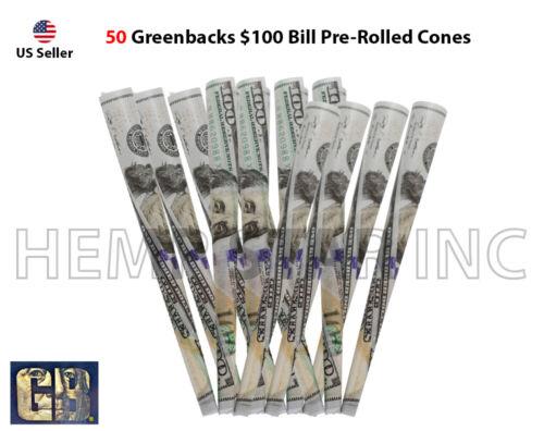GreenBacks $100 Bill Pre-Rolled Cones king size 100% Organic Non GMO (50 Pcs.)