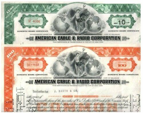 BUNDLE OF 100 RARE ORIG VINTAGE AMERICAN CABLE & RADIO STOCKS @ 50c! 1940