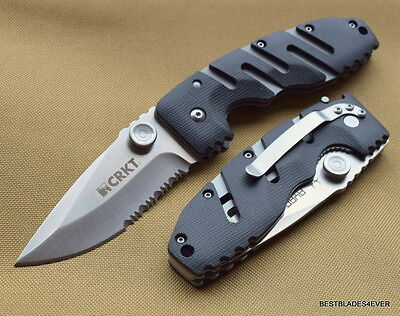 8 INCH CRKT RYAN SEVEN TACTICAL FOLDING KNIFE SERRATED BLADE WITH POCKET CLIP Serrated Clip Blade