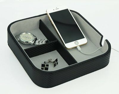 Black Carbon Catchall Coin Valet Tray Keys Phone Jewelry Wallet Charging Station