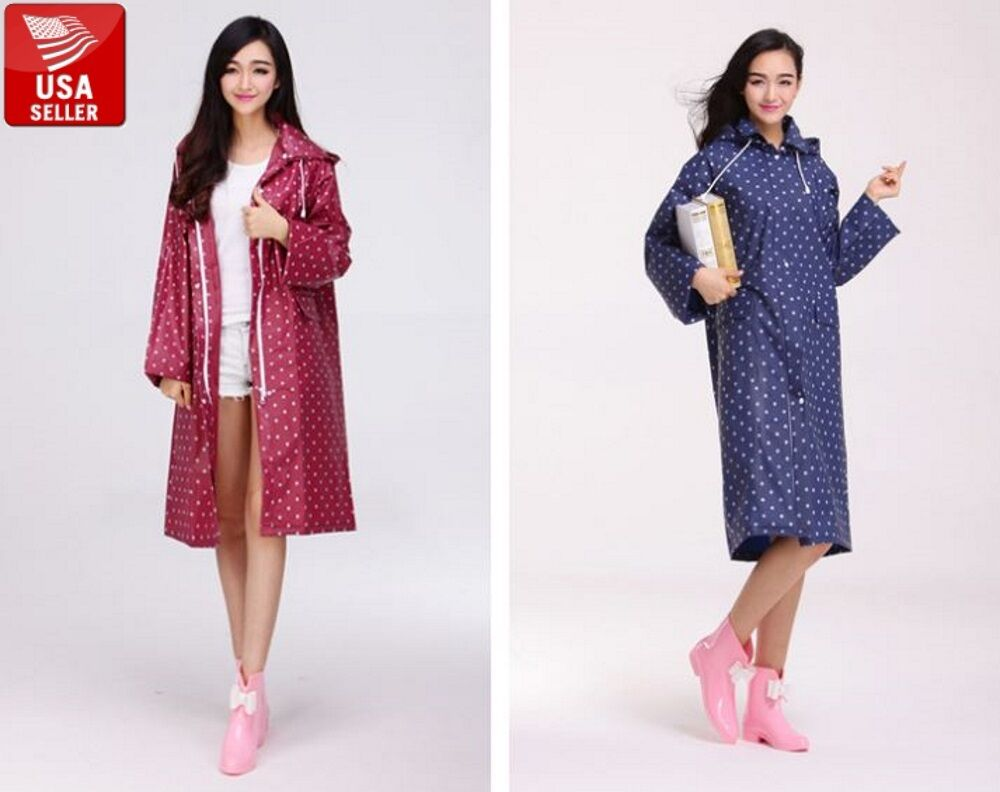 Beautiful Polka Dot EVA Women's Waterproof Raincoat Jacket