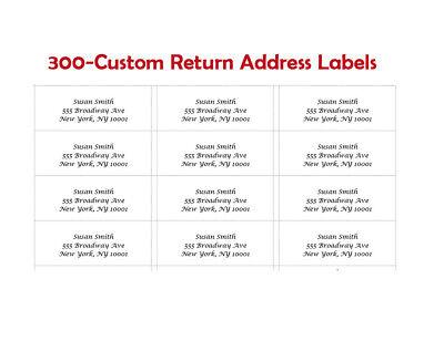 300 Custom Printed Center Aligned Large Return Address Labels 1 X 2-58