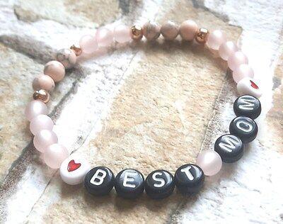 Muttertag ♥ rosé Polarisperlen Armband Name Geschenk ♥ Gift Best Mom ♥
