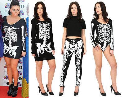 da donna HALLOWEEN aderente costume scheletro LEGGINGS BODY COSTUME FESTA BN (Festa Halloween)