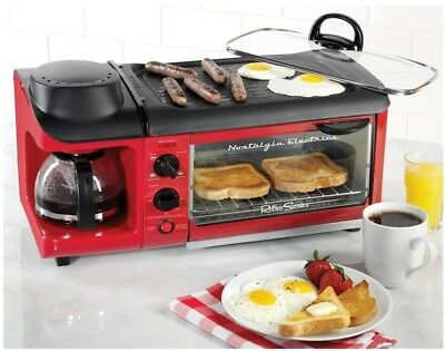Retro 3 In 1 Breakfast Station Mini Kitchen Coffee Maker Griddle Toaster Oven