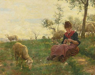 Sorbi Raffaello The Knitting Shepherdess Print 11 x 14  #5049