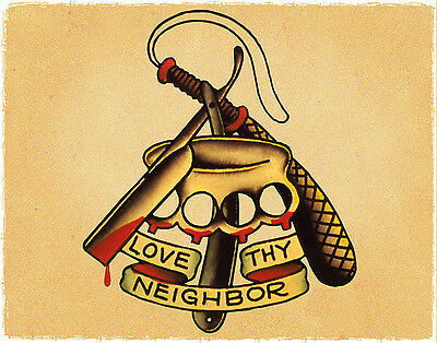 Love Thy Neighbor Brass Knuckles Sailor Jerry Traditional Tattoo Flash Print