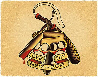 Love Thy Neighbor Brass Knuckles Sailor Jerry Traditional Tattoo Flash Print