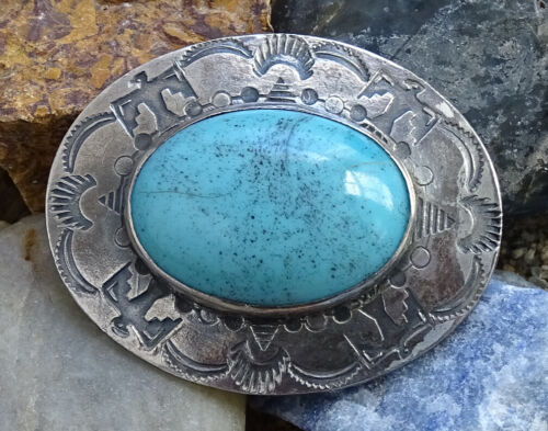 Vintage Southwestern Sterling Brooch Pin Turquoise Thunderbird Stamp Decoration