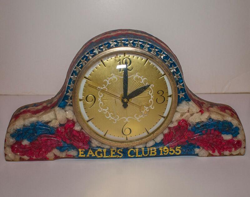 Vintage 1950s Fraternal Order Of Eagles Club Clock Resin 1955 Display Piece USA