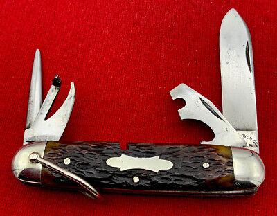 Vintage EDW. K. TRYON 4-Blade Camp/Utility Pocket Knife c.1811-1952 Bone Stag