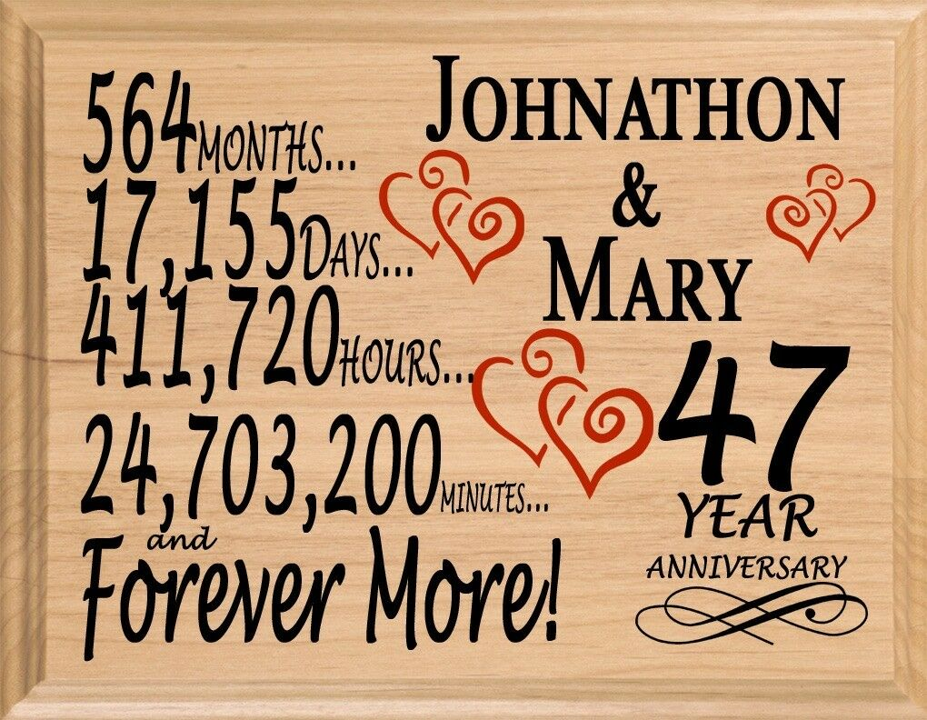 47 Year Anniversary Gift PERSONALIZED FAST 47th Year for Her Him or Couple!