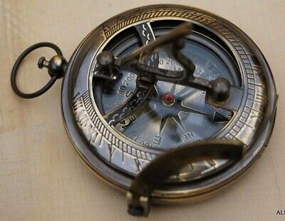 Nautical sundial pendent push button victorian pocket compass vintage gift item