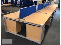 8 station desk cluster 1400mm x 800mm (2 available)