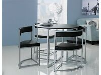 EX DISPLAY Hygena Milan Oak Effect Space Saver Table & 4 Chairs - Black