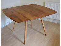 Ercol Blonde Square Drop Leaf Dining table.Solid Elm Topm Vintage. Retro