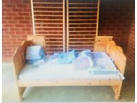 Solid Pine Cot/Junior/Toddler Bed with Mattress,Quilt, Blanket, Cot Bumper & 6 Fitted Sheets