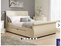 Cream leather double bed
