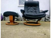 Retro Leather Ekornes Stressless Large Reclining Armchair & Footstall