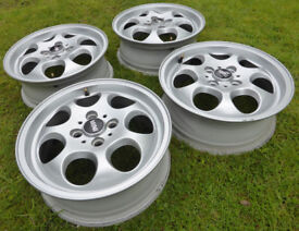 "MINI ONE COOPER 7 Hole 15"" Alloy Wheels inc. Centres & Wheel Bolts + Locking Bolts"