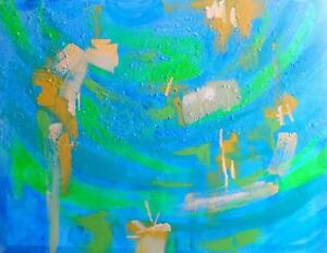 """UNDER DA SEA"" New Original Painting by Valerie Koudelka / 27x35"" / BLUE / Oakville 905 510-8720 Buy Canadian Art !"