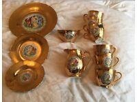 21 piece golden porcelain tea set