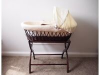 Izziwotnot Wicker Moses Basket with Wooden Stand.