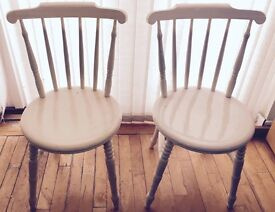 2 x Solid White Dining Chairs - great condition, classic design