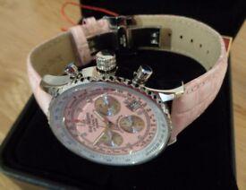 Krug Baumen 400515DS - Diamond 'Air Traveller' Silver Bezel / Pink Strap - NEW - RRP £329