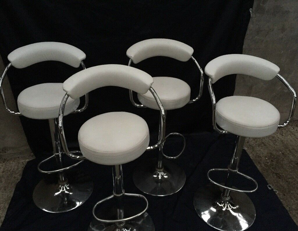 Set of 4 white leather stools
