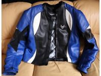 Frank Thomas Mens Leather Motorcycle Jacket 48 Chest XL In Good Used Condition