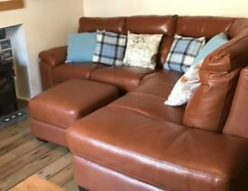 Beautiful DFS Leather Corner Sofa + Matching Footstool with Storage