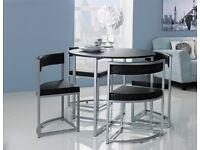 EX DISPLAY Hygena Milan Oak Effect Space Saver Table & 4 Chairs - Black