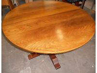 Solid Oak Extending Circular Pedestal Dining Table