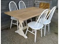 Vintage Solid Oak Refectory Dining Table Farmhouse Country Cream Shabby Chic *FREE DELIVERY* (pine)