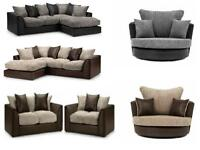 NEW CORD CRUSHED VELVET CORNER SOFAS SETTEE FAST DELIVERY