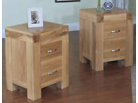 2 x Rivermead solid oak modern bedside cabinets - as new condition