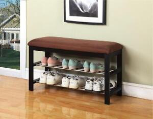 Black / Chocolate Micro Fabric Shoe Rack Storage Organizer Hallway Bench - BRAND NEW - FREE SHIPPING