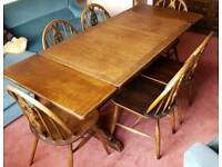 Solid oak extending leaf table & chairs