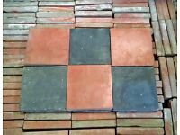 "6"" X 6"" RED / BLACK AGED VICTORIAN STYLE QUARRY TILES - NOT RECLAIMED - LARGE STOCK"