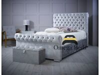 Chesterfield Upholstered Luxury Sleigh 4ft Small Double Bed